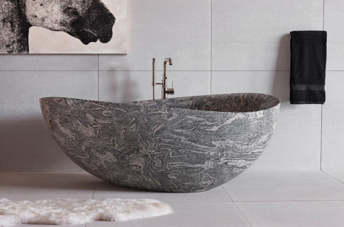 Cumulo_Granite_Papillon_Bathtub - Susan Marocco Interiors