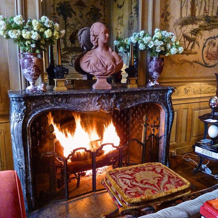 Chateau-du-Grand-Luce-via-Quintessence - fireplace wood burning